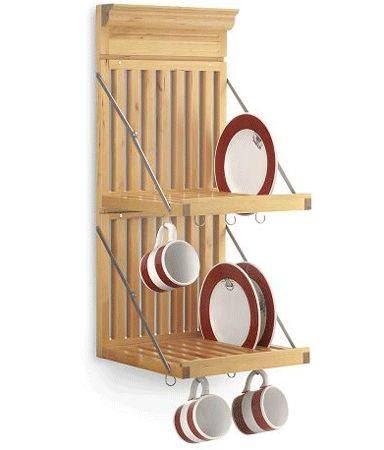 Wall (or side of cabinet) mounted dish rack to free up counter space