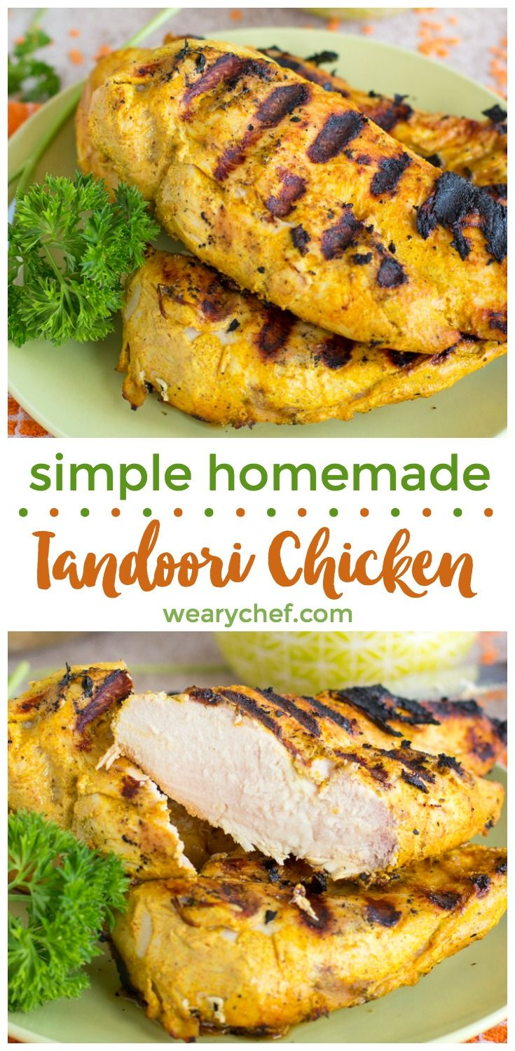 This easy homemade tandoori chicken recipe tastes authentic, like from your favorite Indian restaurant! You only need yogurt and a few spices, and you can bake it in the oven or cook it on the grill.