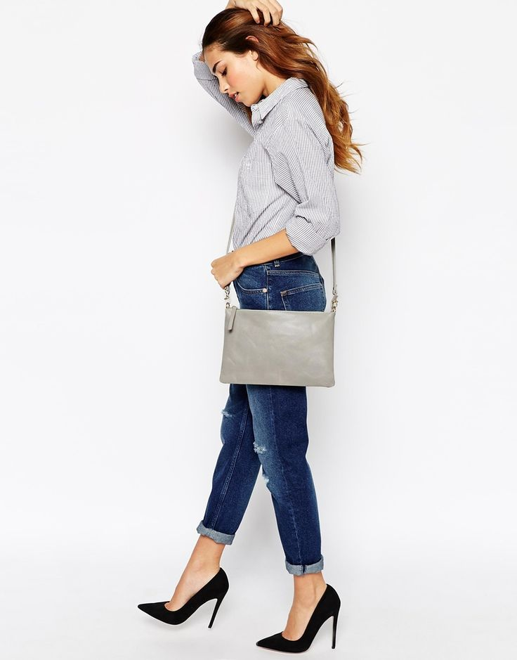 Image 3 of Warehouse Leather Crossbody Bag in Pale Gray