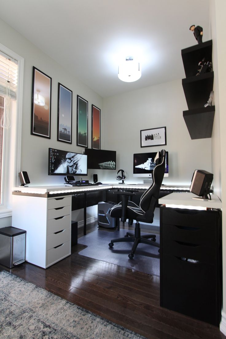 Mixing wood tones in addition l shaped desk gaming setup 2 together - Battle Station Gaming Office