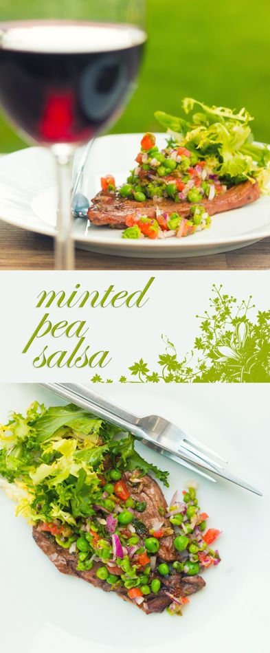 Minted Pea Salsa With Grilled Lamb Leg Steak Recipe: A wonderfully fresh summery minted pea salsa is the perfect compliment to a simply marinaded and grilled lamb leg steak.