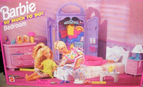 Barbie so Much to Do Bedroom Playset (1995) Retired by Mattel. $89.99. Rare Barbie So Much To Do Bedroom Playset (1995). Playset includes: Bed, Pillow, Bed Cover, Bed Side Table,. Lamp, Telephone, Chest of Drawers, Armoire, Bed Tray, Coffee Pot,. No Longer in Stores & No Dolls Included in set. Rare and Hard to Find Barbie Bedroom Set. Rare 1995 Barbie Bedroom Playset Includes: Bed, Pillow, Bed Cover, Bedsode Table, Lamp, Telephone, Chest of Drawers, Armoire, Bed Tray, ...