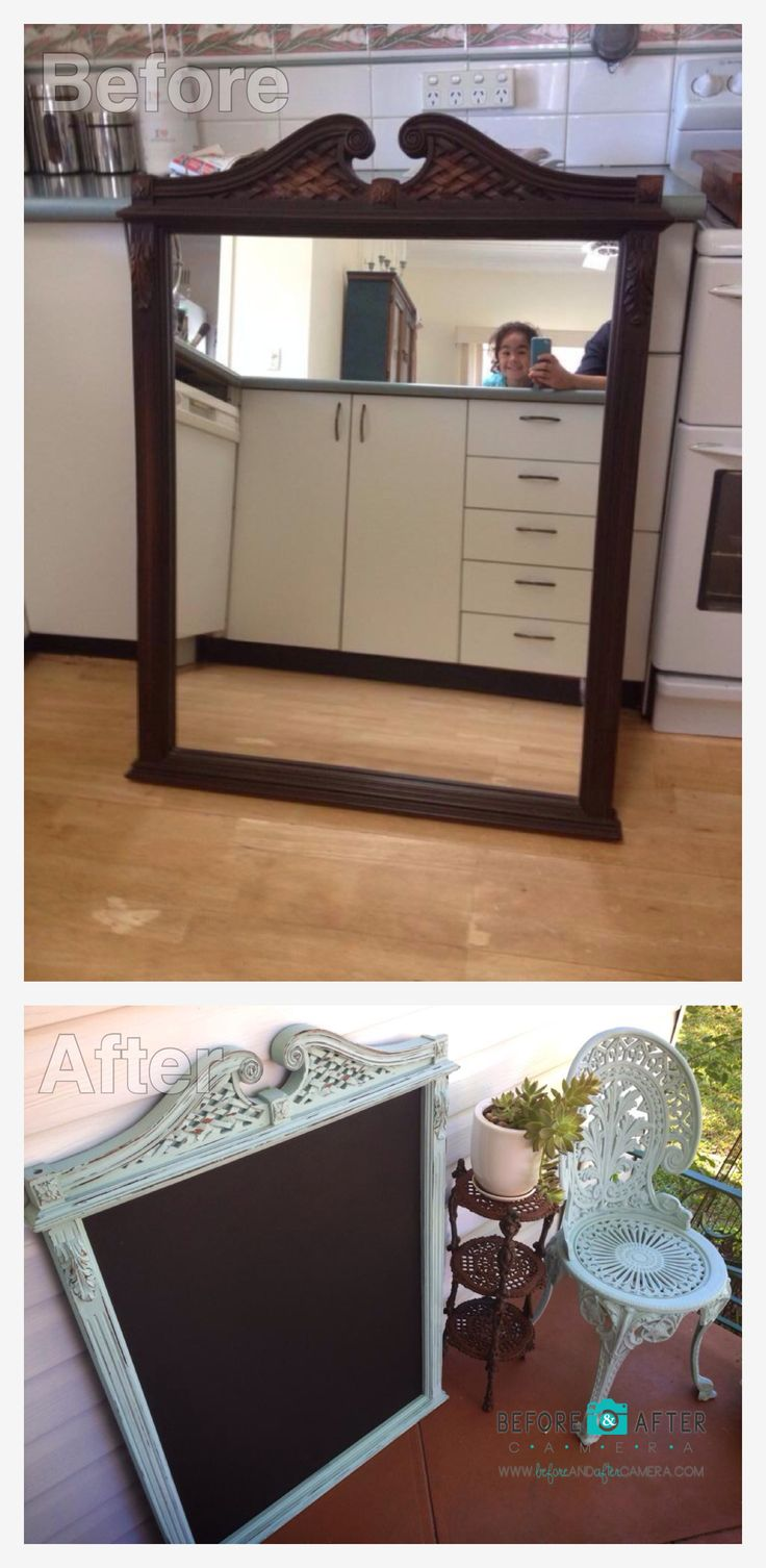 Re-purposed dresser mirror converted into a shabby chalk board.