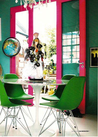 neon dining room: Interior Design, Dining Rooms, Inspiration, Matthew Williamson S, Green, Interiors, Hot Pink, Homes
