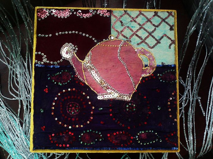 Tea Box. Textile collage.