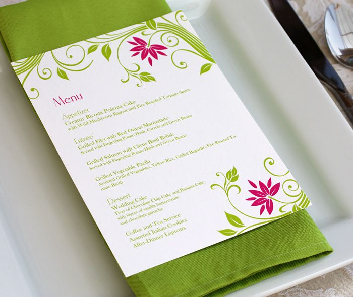 menu placed on top of napkin