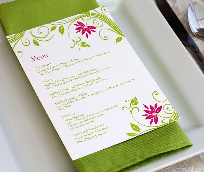 cheerful spring garden wedding dinner menu with floral vines motif