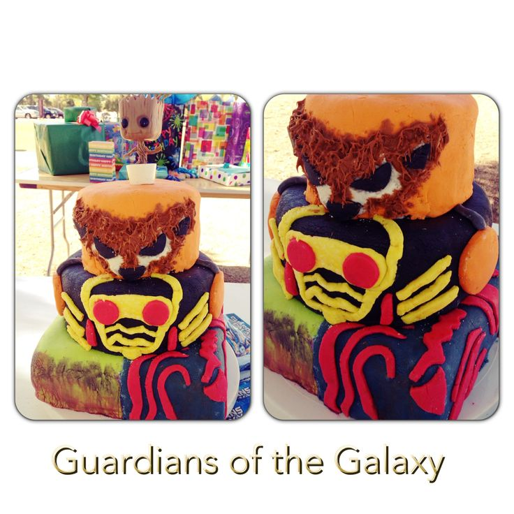 Guardians of the Galaxy cake  Bottom: Gamora/Drax Middle: Starlord Top: Rocket Raccoon Cake topper: Baby Groot bobblehead