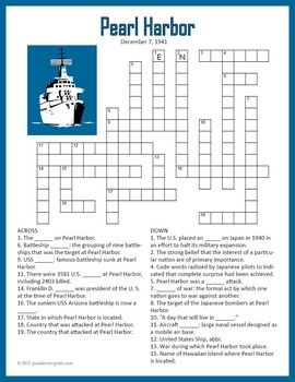 Use this crossword puzzle worksheet when studying the 1941 bombing of Pearl Harbor and get everyone's attention.  There are 20 clues to be answered and each one touches on a fact about the attack.  This could be used as an introduction to the subject or as a quiz.