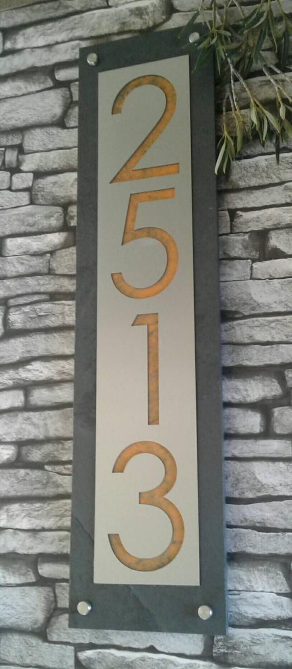 Modern House Numbers Mid Century Vertical Address Plaque Etsy