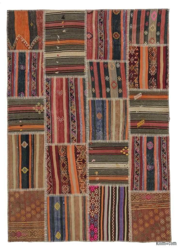 Colorful 5'3'' x 7'7'' (63 in. x 91 in.) kilim patchwork rug created from vintage kilim fragments. The rearrangement of the fragments transforms the ancient craft of rug making into unique artwork suited for contemporary settings at home or in offices. Eco-friendly and creative, each kilim patchwork rug is unique in its coloring and design. A cotton backcloth and buckram serves to strengthen and reinforce the rug. All our vintage area rugs are professionally cleaned and odorless.
