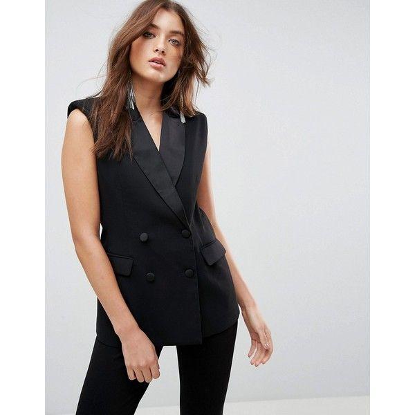 ASOS Sleeveless Tux Blazer (84 AUD) ❤ liked on Polyvore featuring outerwear, jackets, blazers, black, pocket jacket, tuxedo jacket, double breasted blazer, asos blazer and double breasted tuxedo jacket