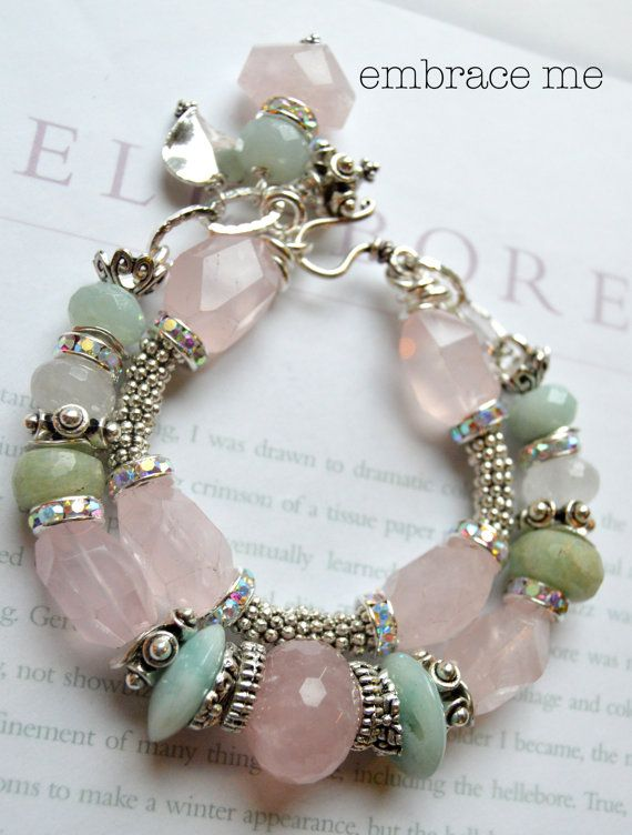 this features fresh and flirty pink quartz and soft green chalcedony, which make a lovely fresh combo    with two strands, one of chunks of faceted