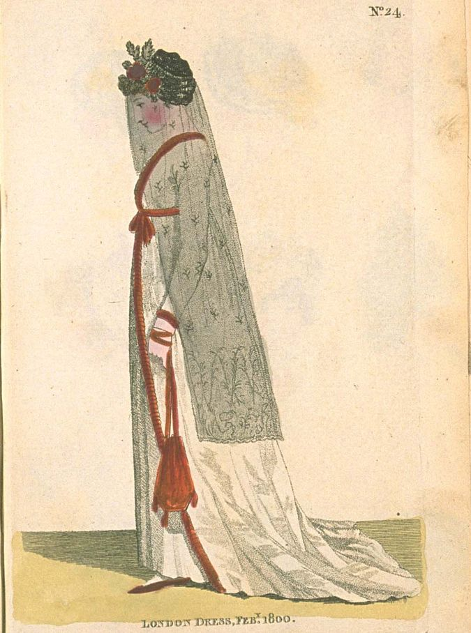 London Morning Dress, February 1800, Fashions of London & Paris