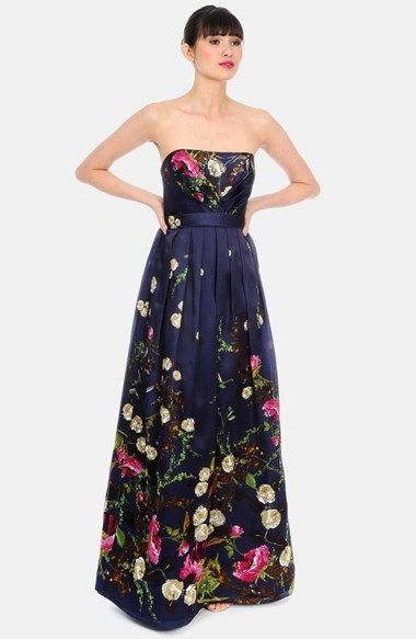 Kay Unger Floral Pleated Silk Strapless Gown