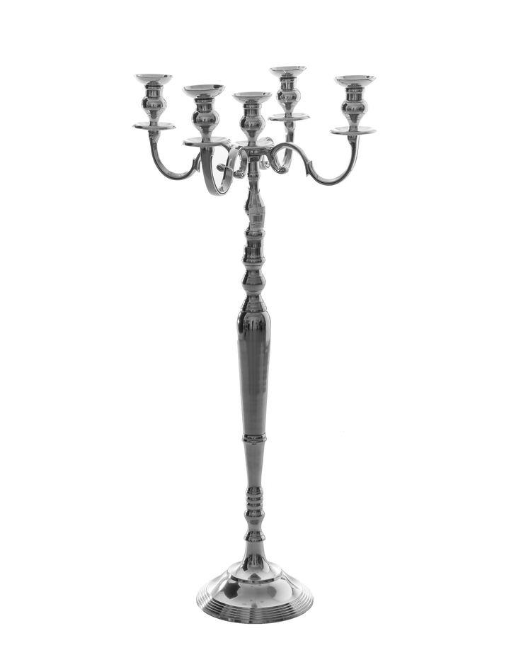 Korkea kynttilänjalka, 5-haarainen, hopea