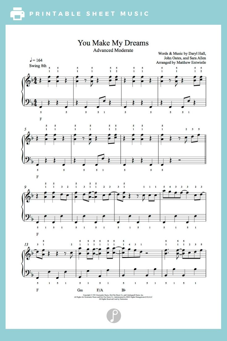You Make My Dreams By Hall Oates Piano Sheet Music Advanced