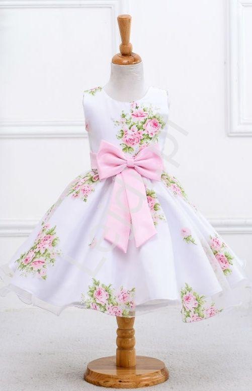 Biała sukienka w nadrukowane róże | sukienki dla dziewczynki