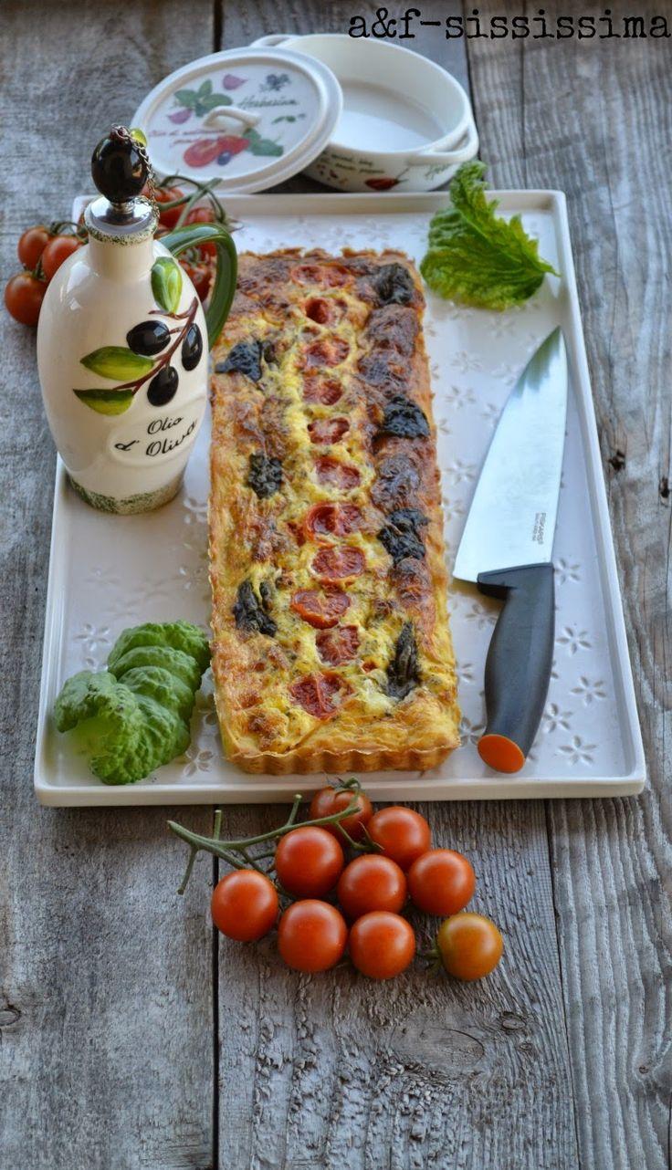 acqua e farina-sississima: Re-Cake 2.0: torta salata con formaggio di capra, pomodori, basilico