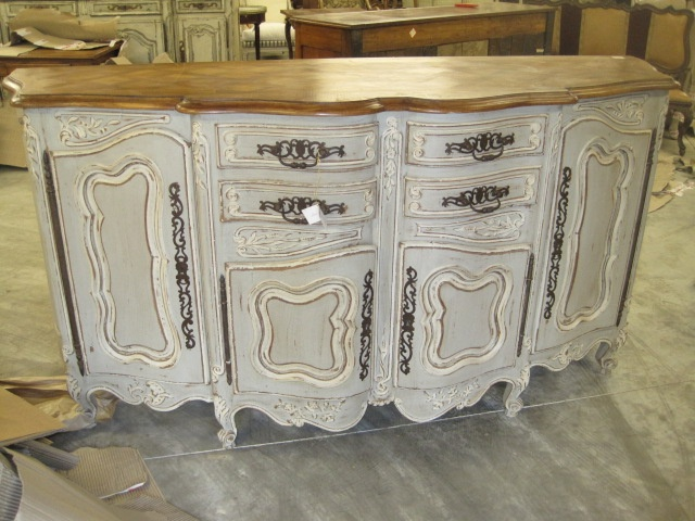 French buffet painted grey, gray with white accents, distressed, antique  glazing and natural - 135 Best Layering Techniques Images On Pinterest Clay Paint