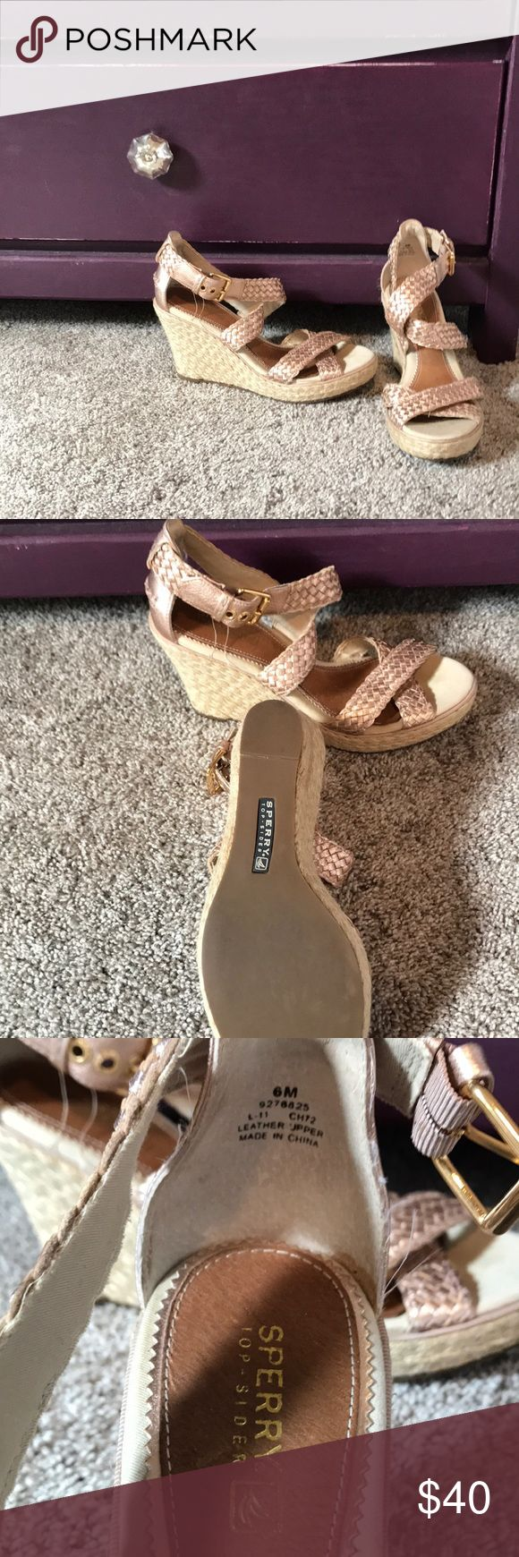 Sperry rose gold wedges size 6 Sperry Top-Sider wedges in size 6. Barely worn. Left shoe has a line of decoloration, but otherwise in great condition. Willing to accept offers. Bundle 2 or more items for 25% off! 💕 Sperry Top-Sider Shoes Wedges