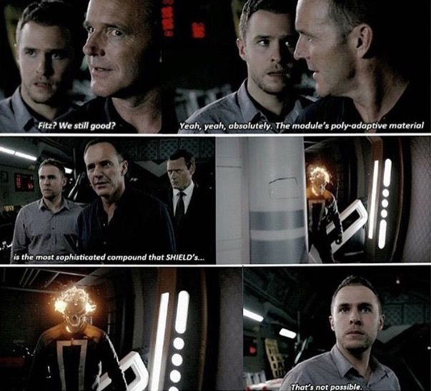 """""""That's not posibble"""" - Fitz, Coulson and Dir. Mace seeing Robbie breaking out of a containment unit #AgentsOfSHIELD"""