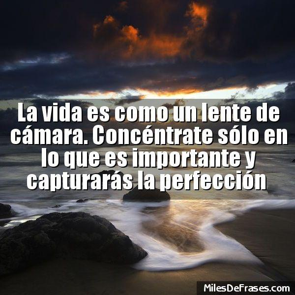 La vida es como un lente de cámara. Concéntrate sólo en lo que es importante y capturarás la perfección