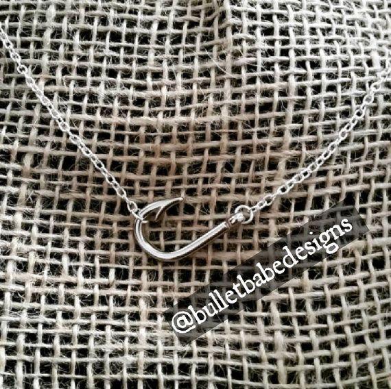 Sideways fish hook charm necklace in silver