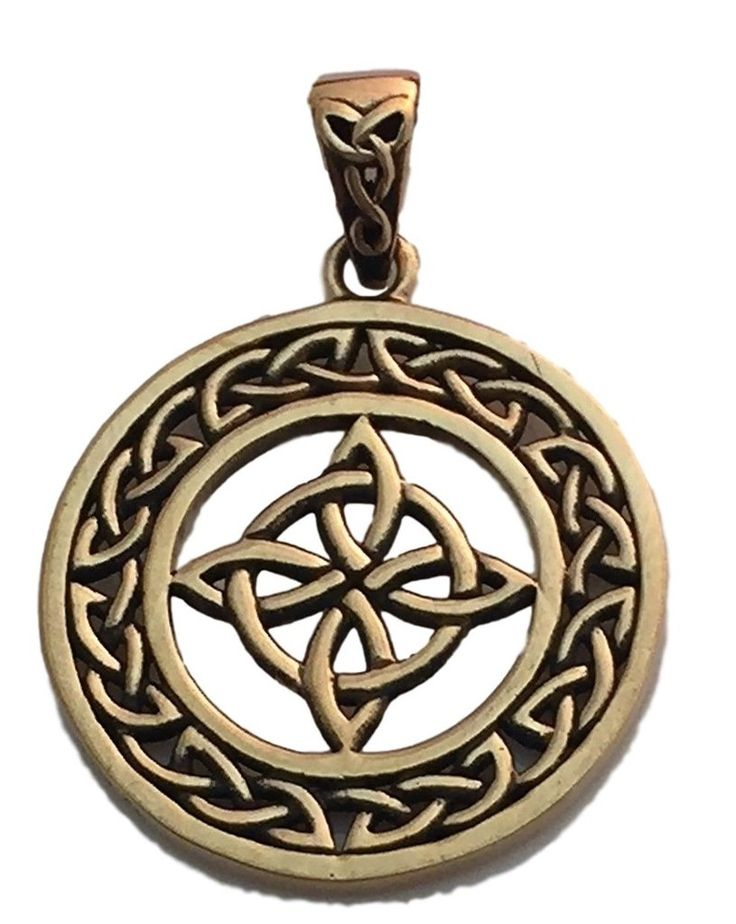 Celtic WITCHES Knot Pendant in Gold tone Bronze - Encircled Quaternary 4 Point Knot Amulet