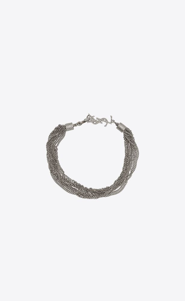 8b3b7f61602 SAINT LAURENT Bracelets Woman LOULOU necklace with twisted chains in silver  brass a_V4