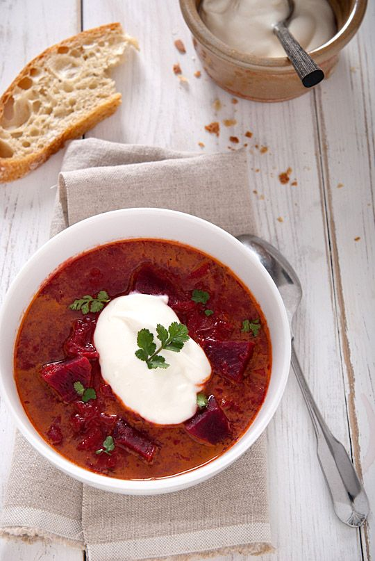 Roasted Beet Borscht Soup - beets, potato, celery, carrot, cabbage, onion, tomatoes