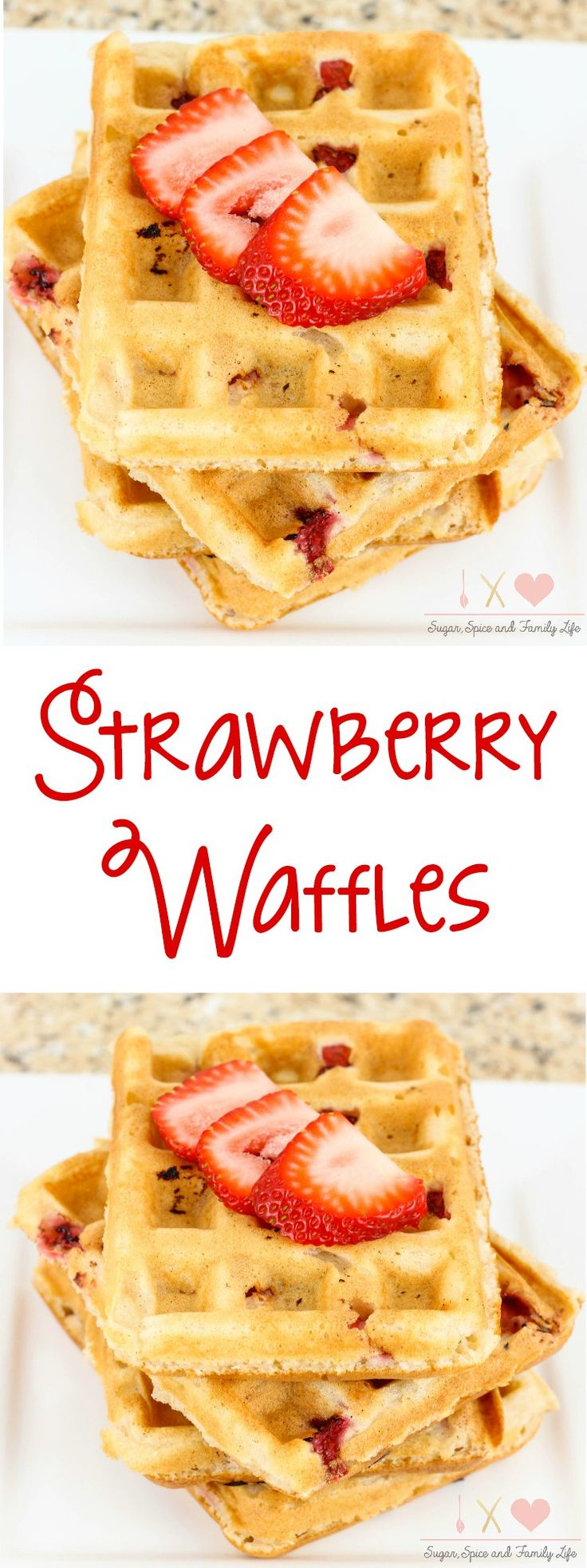 Strawberry Waffles are a delicious breakfast especially for strawberry lovers. - Strawberry Waffles Recipe from Sugar, Spice and Family Life
