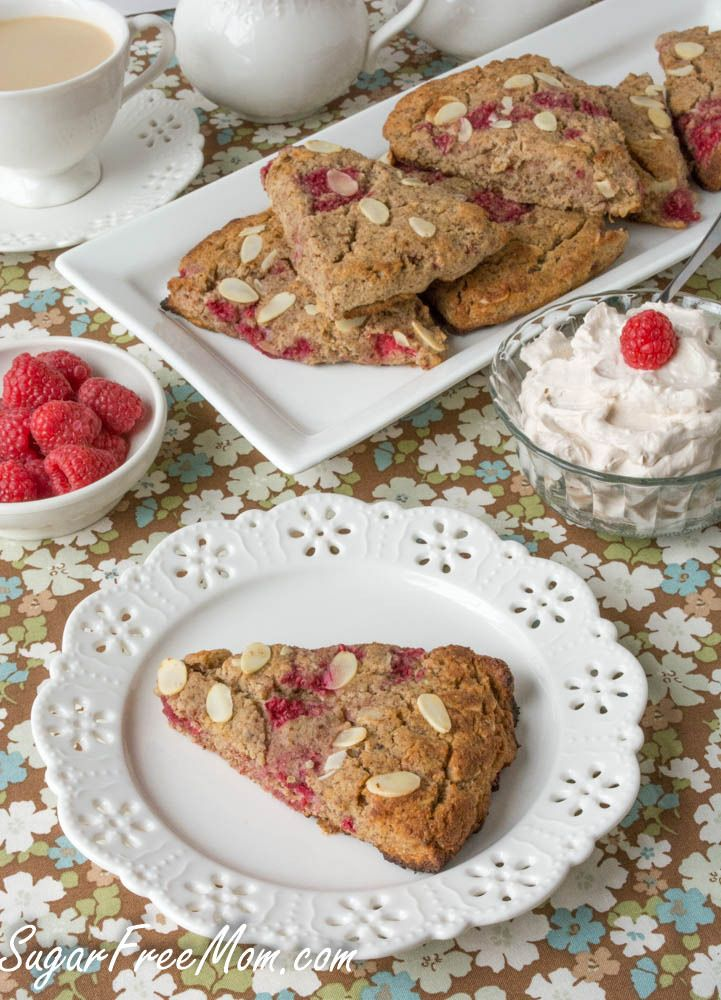 Grain Free Raspberry Almond Scones made without sugar and low carb