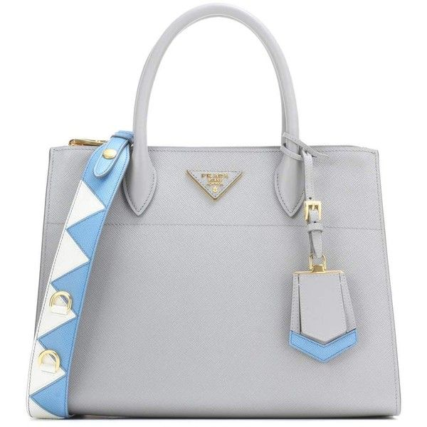 Prada Paradigme Handbag (£2,385) ❤ liked on Polyvore featuring bags, handbags, tote bags, bolsas, grey, totes, purse tote bag, handbag purse, purse tote and grey handbags