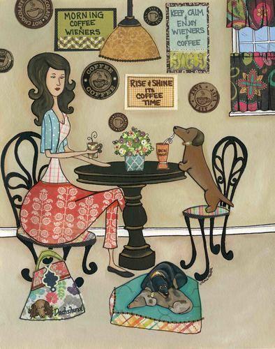 Coffee & Wieners ~ Jamie Morath Art art, mixed media, painting, bistro, coffee, wiener dog, dachshund, doxie, milkshake, bacon, table, kitchen, keep calm, morning, dogs, dog bed