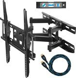 """Cheetah Mounts APDAM3B Dual Articulating Arm (14? Extension) TV Wall Mount Bracket for 20-55 inch LCD, LED and Plasma Flat Screen TVs up to VESA 400x400 and 115lbs, with Tilt, Swivel, and Rotation Adjustment, Including a Twisted Veins 10' Braided High Speed with Ethernet HDMI Cable and a 6"""" 3-Axis Magnetic Bubble Level"""