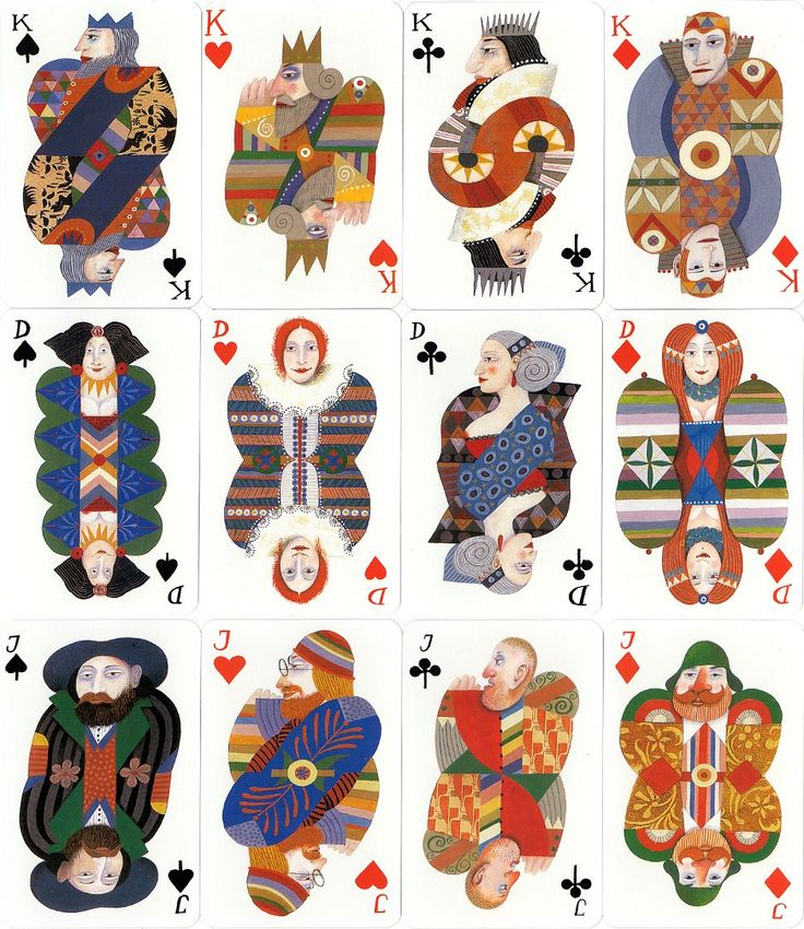 playing cards designed by Karl Korab printed by Piatnik and published by Edition Hilger, 1991
