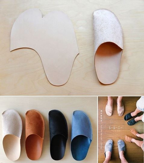 Follow our instructions to create your own slippers. They're a perfect gift -- but you'll also want to make a pair for yourself. What you will need: leather/felt; Scissors Marker; Sewing machine. Directions: 1. Use the pattern that you see in the pictures. 2. Measure the length and the width of your shoe sole. 3. Take a third measurement from the center of the interior line of the sole, above your foot and to the center of the exterior line of your sole. 4. Start building the slipper…