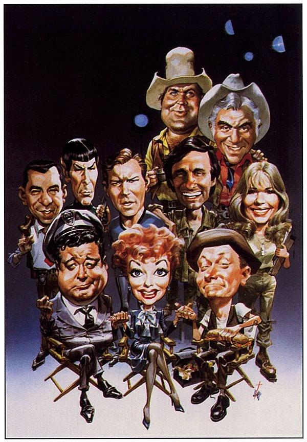 "Jackie Gleason, Lucille Ball, Art Carney, Sergeant Joe Friday from ""Dragnet,"" Leonard Nimoy (Star Trek), William Shatner (Star Trek), Alan Alda (M*A*S*H Hawkeye), Loretta Swit (M*A*S*H Margaret Houlihan), Lorne Green (Ben Cartwright), and Dan Blocker (Hoss Cartwright)  (by Bruce Stark)"