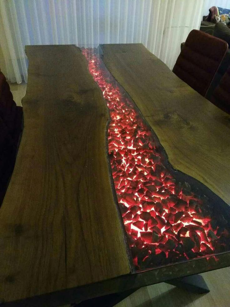LED & resin table top w/ tocks #woodworkingplans