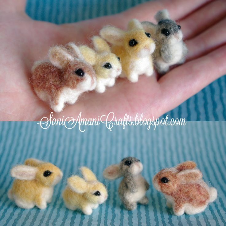 Needle felting by SaniAmani (part VI - bunny family) | SaniAmaniCrafts