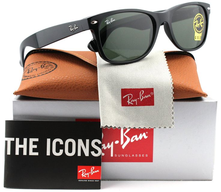 Ray-Ban RB2132 Small New Wayfarer Sunglasses Shiny Black w/Crystal Green (901