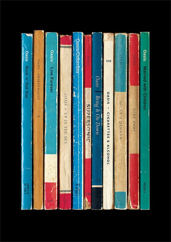 Oasis 'Definitely Maybe' Album As Books Poster Print | Literary Music Print | Penguin Books