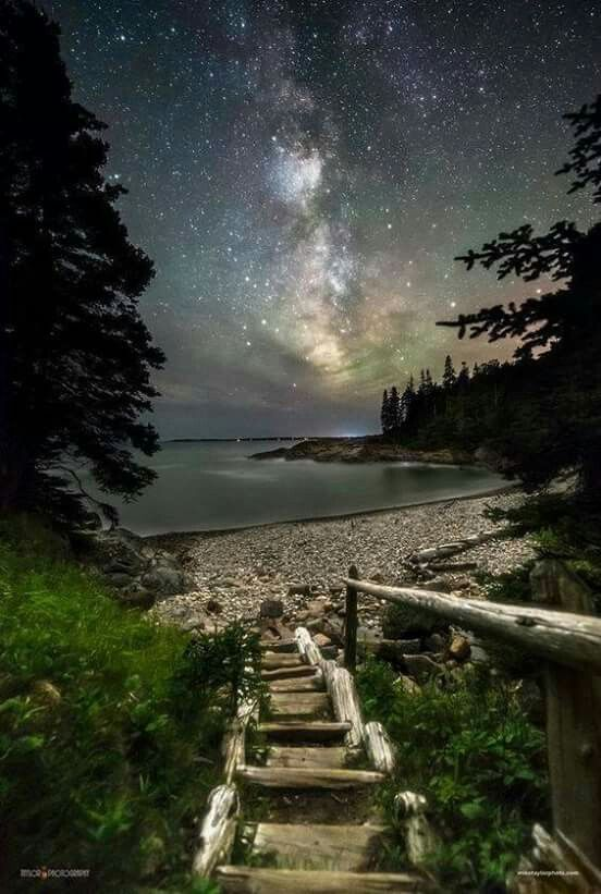 Night Walk at Little Hunters Beach, Arcadia National Park Maine ...byplacestosee