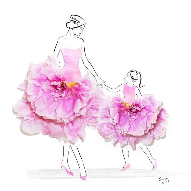 Çiçeklerin Gücü Adına: Çiçekli Moda İllüstrasyonları ile Kadın Elbiseleri - Grace Ciao Sanatlı Bi Blog 26