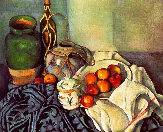 This painting is of jugs and fruit on a table and was painted by Paul Cezanne. He was born in Aix-en-Provence, which is in the south of France.