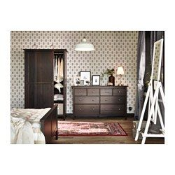 IKEA - HEMNES, 8-drawer dresser, black-brown, , Smooth running drawers with pull-out stop.Made of solid wood, which is a durable and warm natural material.If you want to organize inside you can complement with SKUBB box, set of 6.