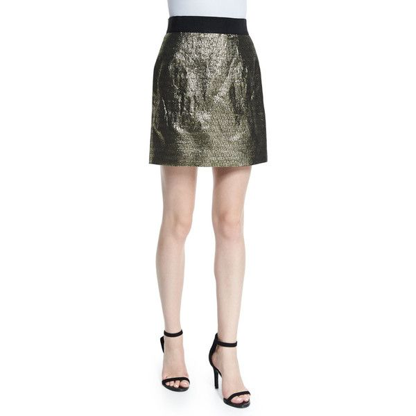 Milly Metallic Jacquard Back-Zip Miniskirt (927.415 COP) ❤ liked on Polyvore featuring skirts, mini skirts, gold, a line mini skirt, jacquard skirt, a line skirt, milly mini skirt and back zipper skirt