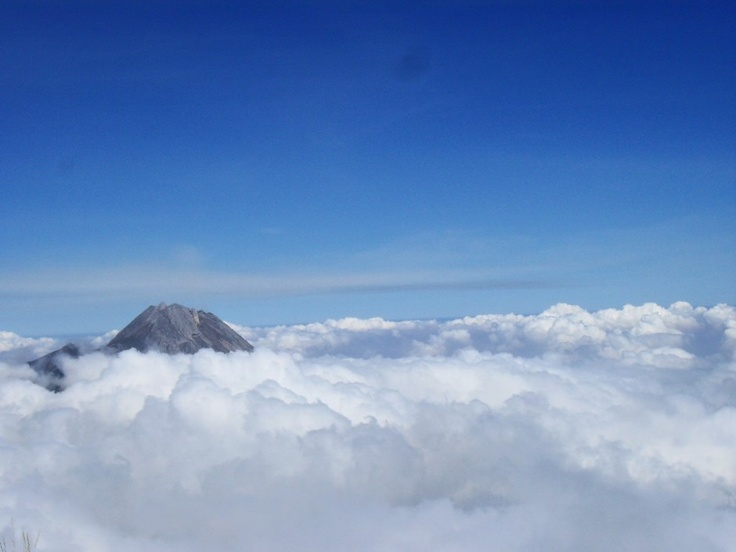 View of Merapi Summit from Merbabu Mountain, Central Java, Indonesia