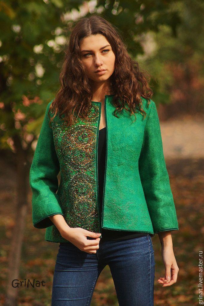 """Купить Валяный жакет""""Яна"""" - зеленый, орнамент, grinat, наталия гришаева, войлок ручной работы"""